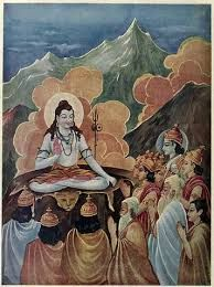 Lord Shiva destroying Tripura or 3 cities ruled by asuras (demons)