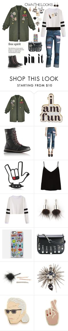 """""""Pin It... free spirit"""" by ellie366 ❤ liked on Polyvore featuring WithChic, ban.do, SOREL, Alice + Olivia, Dsquared2, Raey, Simons, Casetify, Versus and ABS by Allen Schwartz"""