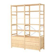 IKEA - IVAR, 2 sections/tablettes/commode, Bois massif brut, un matériau naturel et solide à cirer ou huiler pour accroître sa résistance et faciliter son nettoyage.Vous pouvez déplacer les tablettes et les positionner selon vos besoins.