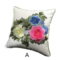 Peony embroidered throw pillows Chinoiserie 3D flower sofa cushion