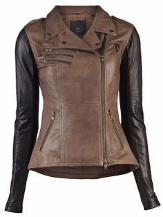 Usually not a fan of brown and black together, but this is soo cute! Veda Supreme Two Tone Leather Jacket | Fashion World