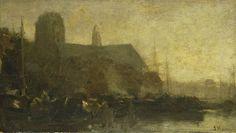 Schepen in de haven van Dordrecht, Jacob Maris, 1880 - 1899