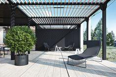 secciones exteriores pergoladas...dos colores, metalica, pintor madera clara con soportes negros
