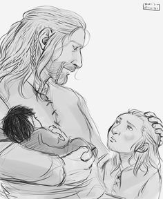Fili and Kili's father and his boys by marisdrawings on tumblr