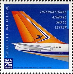 Stamp: Boeing Super B (South Africa) Anniversary of South African Airways) Mi:ZA Union Of South Africa, Aviation World, Small Letters, Boeing 747, African History, Afrikaans, Africa Travel, Stamp Collecting, The Good Old Days