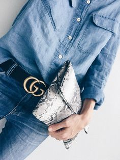 Blue Python Jean Belt