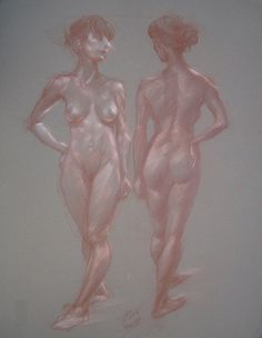 """Woman Twice, by Cyprian Libera, color pencil and chalk on toned paper, 18 x 24"""""""