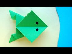 Hopping Origami Frog Folding – Jumping Frog Tinker with Paper – Animals … - Diy Crafting Origami Paper Art, Origami Box, Paper Animals, Origami Animals, Papier Kind, Diy Papier, Jumping Frog, Useful Origami, Creature Feature