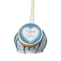 Custom Turquoise Blue and White Wedding Cake Pop Cake Pops