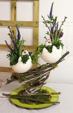 Easter eggs filled with spring plants for spring decor