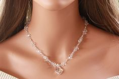 CRYSTAL BRIDAL NECKLACE with Sterling Silver by LalleBridalJewelry, $65.00