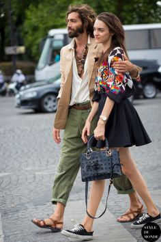 Haute Couture Fall 2015 Street Style: Magda Laguinge and Maximiliano Patane