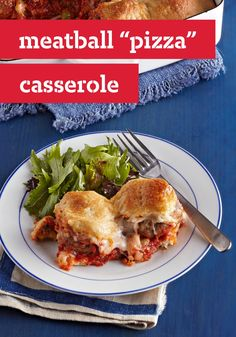 """Meatball """"Pizza"""" Casserole -- Do they like thin-crust pizza? Meatballs? Peppers and melted mozzarella? If the answer is yes, yes and yes--you've got to try this casserole recipe!"""