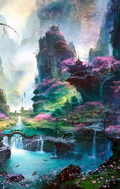 Fantasy/City Wallpaper ID: 622756 - Mobile Abyss Fantasy Art Landscapes, Landscape Art, Beautiful Landscapes, Flower Landscape, Anime Scenery Wallpaper, Landscape Wallpaper, City Wallpaper, Mobile Wallpaper, Fantasy Concept Art