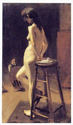 Edward Hopper - Standing Female Nude with Artist in Background (1904)