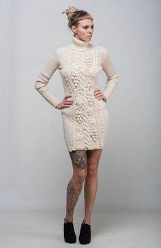 Ivory Cable Knit dress sheath white dress handmade winter dress turtleneck wool dress crochet long sleeve sweatshirt crochet creamy dress by CrochetDressTalita on Etsy