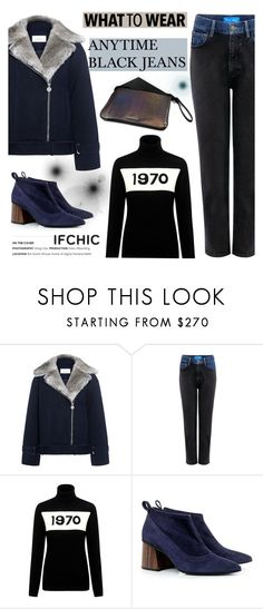 """""""What to wear: Anytime Black Jeans"""" by ifchic ❤ liked on Polyvore featuring Carven, Bella Freud, Eugenia Kim and Mohzy"""