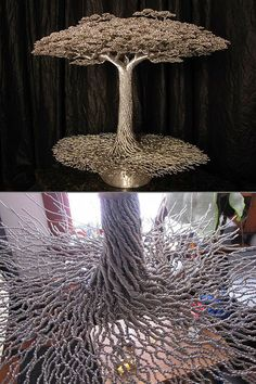 Most people would agree that aluminum wires by themselves are more for industrial uses rather than art, but Kevin Iris would beg to differ. He has spent the last 23-years perfecting the art of transforming aluminum wires into mind-blowing tree sculptures. Continue reading for more pictures and information.