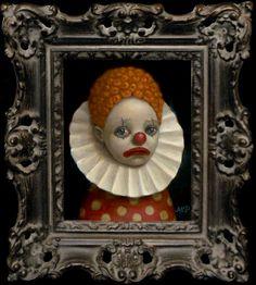 Marion Peck – 2009 – Polka Dot Clown (oil on canvas) Big Eyes Paintings, Clown Paintings, Marion Peck, Papa Dont Peach, Dark Nursery, Mark Ryden, Joker Art, Circus Art, Creepy Clown