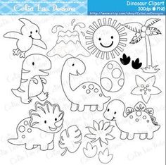 Dinosaur Digital Clipart / Cute Dinosaur Clip Art / Dinosaur Party / Black and White Outline / Digital Stamp / INSTANT Cute Dinosaur, Dinosaur Party, Dinosaur Birthday, Dinosaur Outline, Clipart, Scrapbooking Stickers, Digital Stamps, Digital Art, Paper Cards