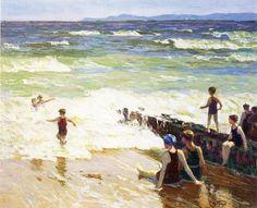 Edward Potthast, (1857-1927) - Bathers at the shore - (s.d.)