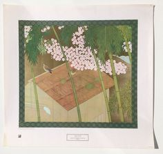 "Bakusen Tsuchida ""Cherry Blossoms and Pigeons"" Art Print USED vintage NYGS 1978  #Realism"