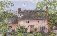 Rose Cottage in Summer  --  Homes & Gardens Portfolio | Lucy Grossmith | Heart To Art Garden Painting, Garden Art, Painting & Drawing, Art And Illustration, Cottage Art, Rose Cottage, Photo Images, Ouvrages D'art, Dibujos Cute