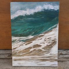 """www.RobinClontsArt.Etsy.com Instagram @RobinClontAart Yesterday's 5x7"""" #wavepainting :) #wave #surf #oilpainting #oilonpanel #landscapepainting #seascape #minipainting #artcollective #instaart"""