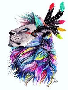 Lion sauvage-main signé Art Print par PixieColdArt sur Etsy