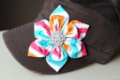 Brown Distressed Military Cadet flower hat. Shabby Chic Flower Hats Chevron Womens Cadet Cap $28