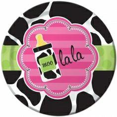 Baby Girl Cow Print Lunch Plates (8) Moo la la