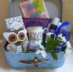 Beautiful Luxury Blue Vintage Style Gift Basket Pamper Hamper Suitcase Mother's Day Mum in Home, Furniture & DIY, Celebrations & Occasions, Other Celebrations & Occasions | eBay