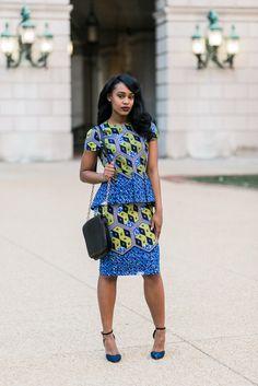 Mishelle Peplum Dress – Blue ~African fashion, Ankara, kitenge, African women dresses, African prints, African men's fashion, Nigerian style, Ghanaian fashion ~DKK