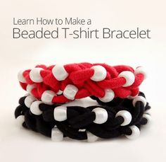 How to Make a Beaded T-Shirt Yarn Bracelet. In this video I will show you how to make a beaded bracelet out of T-shirt Yarn. This tutorial includes brief instructions on finger knitting as well. If you need help making T-shirt yarn, please see this . Operation Christmas Child, Finger Knitting, Arm Knitting, T Shirt Bracelet, Fabric Jewelry, Diy Jewelry, Jewelery, Fabric Necklace, Yarn Bracelets