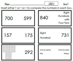 This document consists of 3 single sided pages aligned to the 2nd Grade Math Common Core Standard 2.NBT.4  #CommonCore  #MathWorksheets