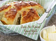 These Easy No Knead Yeast Rolls made a no knead believer out of me. Easy to make and even easier to eat warm slathered with butter. Holiday Recipes, Great Recipes, Favorite Recipes, Best Yeast Rolls, Melissas Southern Style Kitchen, No Knead Bread, Dinner Rolls, Bread Rolls, Special Recipes