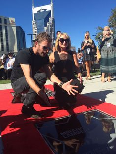 Miranda Lambert receiving her star on the Music City Walk of Fame with her presenter Dierks Bentley on October 6, 2015 in Nashville, Tennessee. #Nashville #MusicCity #MusicCityWalkofFame