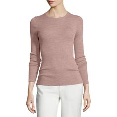 Theory Mirzi Refine Ribbed-Knit Sweater ($200) ❤ liked on Polyvore featuring tops, sweaters, dark gardenia, rib knit sweater, long sleeve pullover, long sleeve crew neck sweater, long sleeve pullover sweater and crew neck pullover