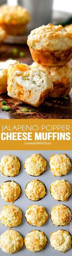 I LOVE these Jalapeno Popper Cheese Muffins! they are super moist with an intense cheesy flavor and a cream cheese jalapeno center with the perfect hint of spice. I bring them to all my potlucks and BBQs and are always a huge hit!