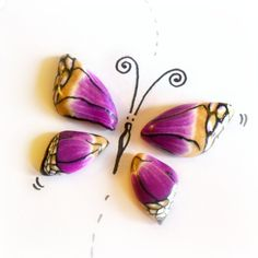 Little Butterfly Wings - Polymer Clay Handmade Cabochon - White Violet Gold Black - Set 4 pieces di archidee su Etsy