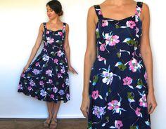 70s Navy Floral Summer Dress | Blue Print Swim Dress Medium by charlialana from Charli Alana Vintage. Find it now at http://ift.tt/1PnRaU9!