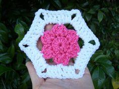 Floral hexagon motif crochet pattern