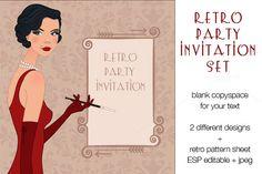 I just released Retro party invitation set on Creative Market.