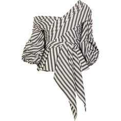 Johanna Ortiz Santa Rosa one-shoulder striped cotton-blend poplin top (£460) ❤ liked on Polyvore featuring tops, army green, zip top, striped top, white knot top, off one shoulder tops and tie knot top