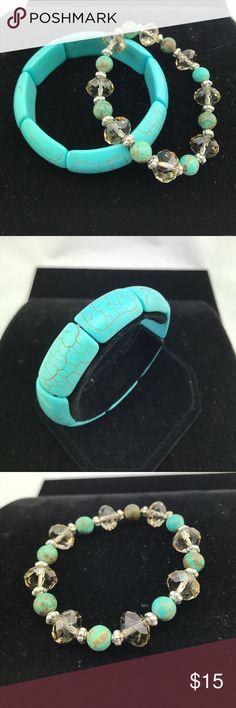 2 - Fashion bracelets New, never worn Turquoise & Crystal fashion bracelets.  Received as gift, never wore. unknown Jewelry Bracelets