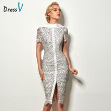 Dressv sexy backless sheath short cocktail dress vintage high neck knee length evening party lace cocktail dress with bowknot(China (Mainland))