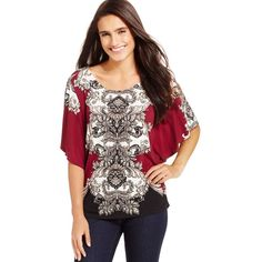 Jm Collection Flutter-Sleeve Printed Top ($33) ❤ liked on Polyvore featuring tops, merlot boho, boho chic tops, boho style tops, jm collection, jm collection tops and bohemian tops