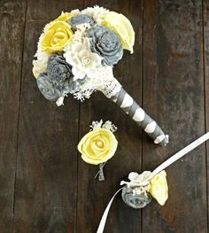 Custom Handmade Wedding Bouquet Yellow Gray by CuriousFloralCrafts, $74.00