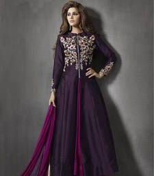 Buy Violet silk embroderied semi stitiched salwar with dupatta party-wear-salwar-kameez online
