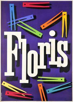 1949 Washing powder Floris, Swiss vintage advert poster